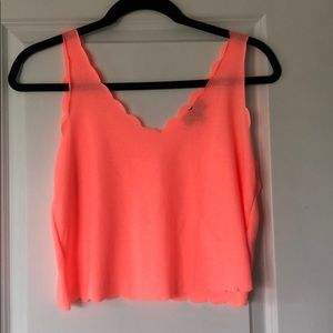 Topshop Scalloped Crop Tank